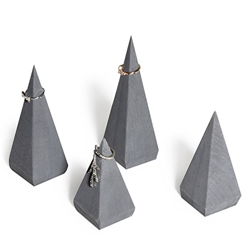 MyGift Pyramid-Shaped Gray Wood Ring Holders, Set of 4