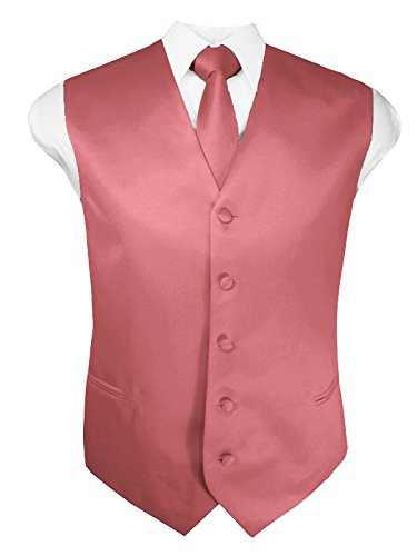 Guytalk Mens Solid Tuxedo Vest Necktie and Handkerchief Set Large ROSE BLUSH (Vest Rose Tuxedo)
