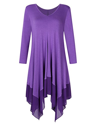 Mesdames KoJooin Plus Langarm Oversize Asymtrique Longshirt Shirt Mousseline Blouse Soie Casual Taille de Casual T Violett en Top Tunique HBBqCEwd