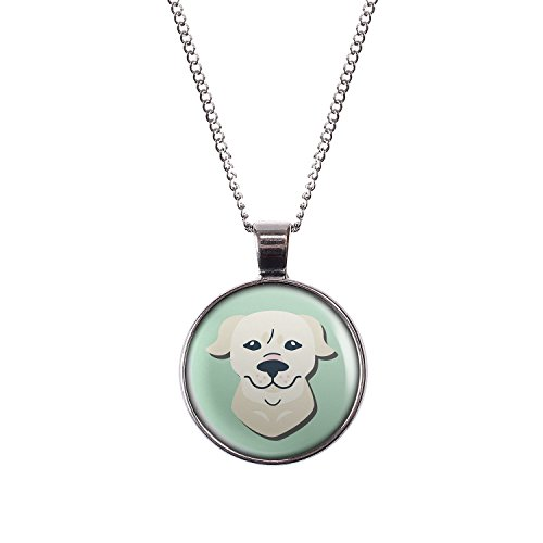 Mylery Necklace with Cabochon Picture Dog Golden Retriever Silver 1.1 inch