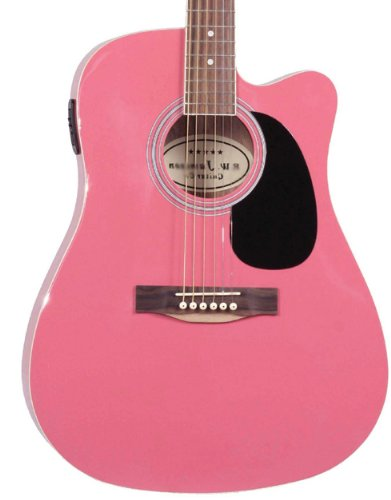 Jameson Guitars Full Size Thinline Acoustic Electric Guitar with Free Gig Bag Case & Picks Pink Right Handed
