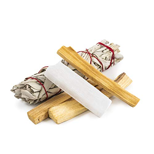 Beverly Oaks Essentials Premium Smudging Kit - Crystal Care with California White Sage, Palo Santo Sticks and Selenite Crystal - Cleansing Set for Your Healing ()