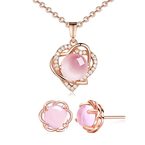 I'S ISAACSONG 925 Sterling Silver Healing Green Moonstone Crystal Charm Love Heart Pendant Necklace and Earring Jewelry Set for Women (Pink Moonstone Heart Charm Jewelry Set) ()