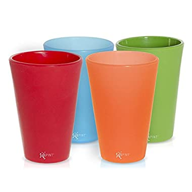 SILIPINT Unbreakable Silicone Drinkware Pint Glasses (Set of 4), Variety of Colors, 16-Ounce