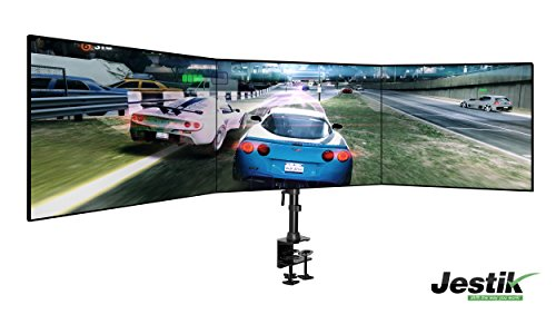 "Jestik JM-CM134 Trinity Triple and Dual Monitor Arm with Clamp and Bolt Through Mount, Holds up to Three 27"" for Triple or up to Two 32"" for Dual"