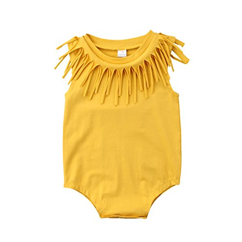 Honganda Cute Infant Baby Girl Sleeveless Tassel Romper Bodysuit Summer Outfit Clothes (Yellow, 0-6 Months)