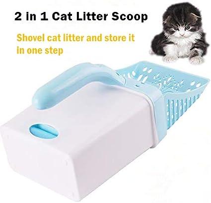 blu utile strumento di pulizia con sacchetto per lettiera per gatti lettiera per gatti con paletta e lettiera 2 in 1 Wuudi animali domestici con manico lungo in plastica