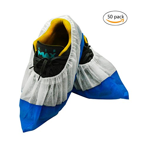 Price comparison product image 50 Packs Disposable Boot & Shoe Covers,  Thickened Waterproof Bottom Shoe Covers,  One Size Fits All Up to Men's 13