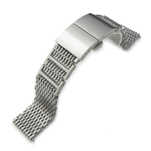 20mm Ploprof 316 Reform Flexi ''SHARK'' Mesh Watch Band Dome Deployant Strap Brush by 20mm Mesh Band