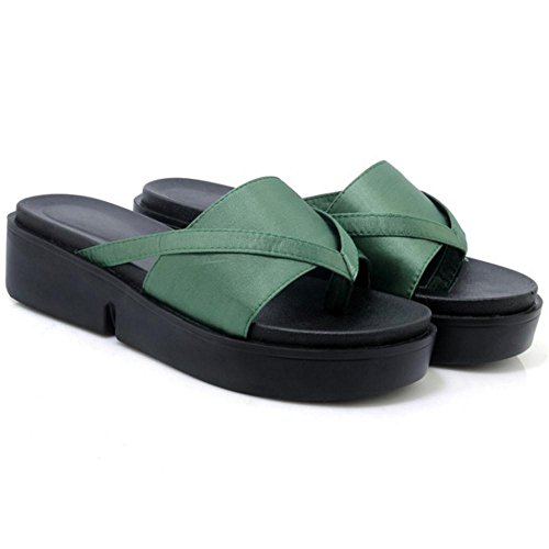 Green Femmes Sandales Army Mules Platform TAOFFEN Chaussures 4qZBCnwHv