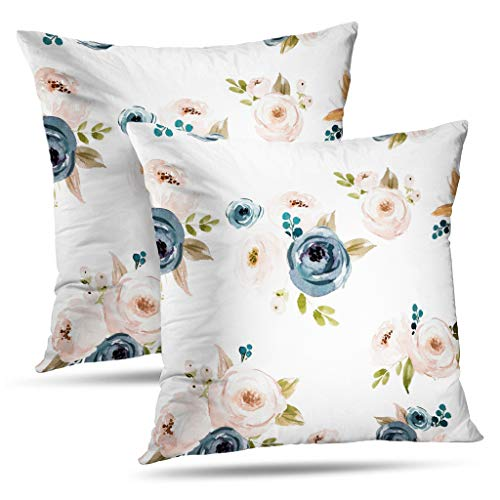 (Darkchocl Set of 2 Daily Decoration Throw Pillow Covers Blush Blue Floral Square Pillowcase Cushion for Couch Sofa or Bed Modern Quality Design Cotton and Polyester 18