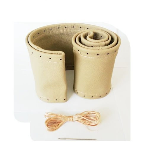 Jurmann Trade GmbH® LENKRADBEZUG - BEIGE - (echt Leder) Ø 37-39 cm zum Schnüren Lenkrad Schoner