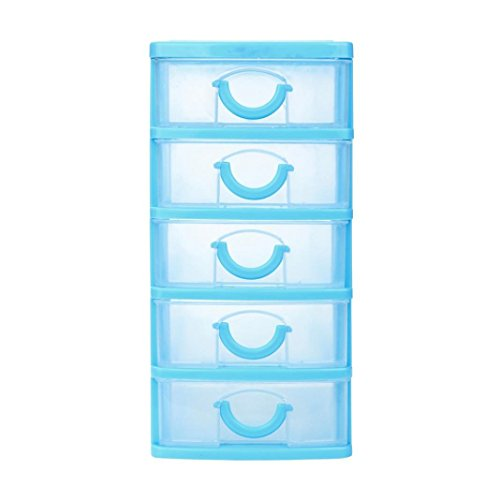 Tronet Durable Plastic Mini Desktop Drawer Sundries Case Small Objects Cosmetics Storage Box Stackable Cube Organizer (Red, XL) (Sky Blue, XL)