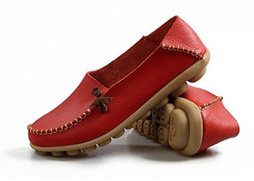 Loafers Shoes Driving Up Casual Flats Lace Shoes Boat Red Bumud Womens wZq18YUY