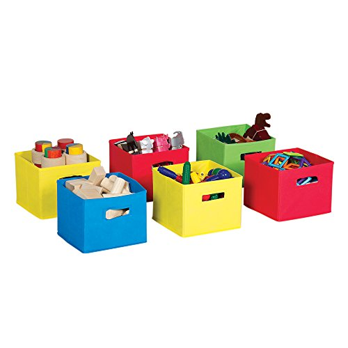 (Guidecraft Multi-Color Fabric Bins: Set Of 6, Primary Colored Foldable Cloth Classroom Storage, Kid's Toy & Books Cube Organizers)