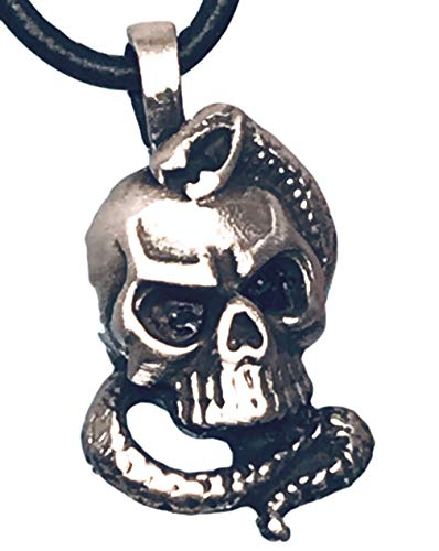 (Pewter Skull with Snake Gothic Pendant on Leather Necklace)