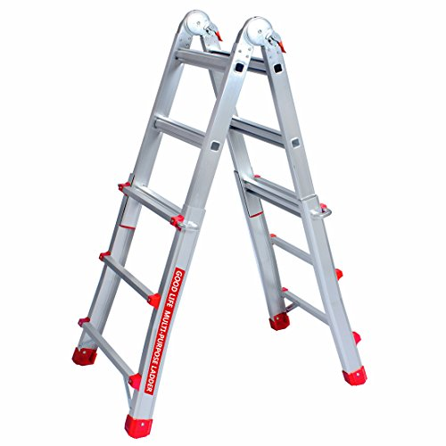 GOOD LIFE EN131 3X4 Step 9 5 FT Telescoping Multi-Ladder Aluminum Extension  Adjustable & Folding Multi-Use Multi-Position Ladder 300-Pound for Home