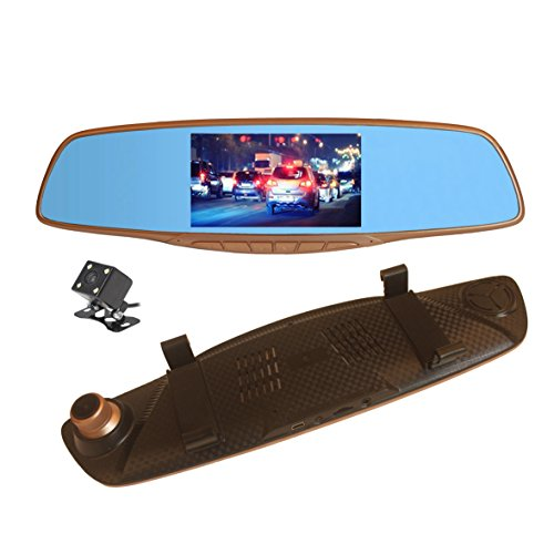 Veoker Full HD DVR Dual Channel Recorder 1080P 5-Inch Color TFT Rear View Mirror LCD Dash Cam &170 Degree Super Wide Angle with G-sensor Motion Detection
