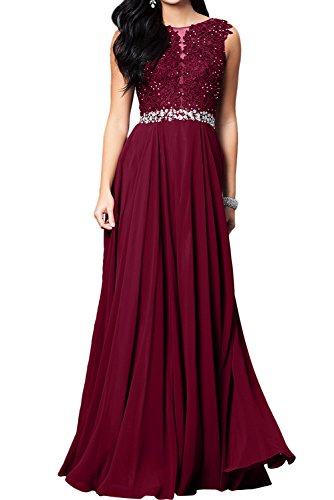 Toscana sposa romantica Nuovo Pizzo vino rosso pietra Chiffon a linea di sera vestiti da pavimento lungo Party vestiti prom abiti rosso vivo 34