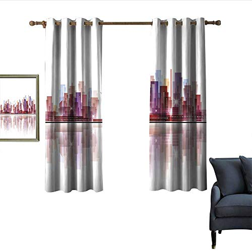 City Thermal Insulated Drapes for Kitchen/Bedroom Landscape Modern Skyscrapers Metropolitan Silhouette Illustration Abstract Composition Darkening and Thermal Insulating 63