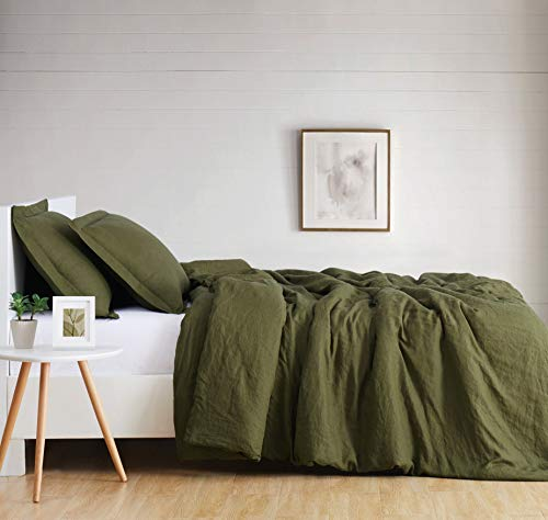 Brooklyn Loom Flax Linen Duvet Set, King, Olive Green