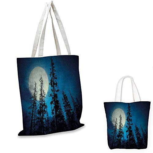 Dark Blue canvas messenger bag Low Angle View of Spooky Mysterious Forest with Tall Trees Big Full Moon canvas beach bag Blue Black White. 14