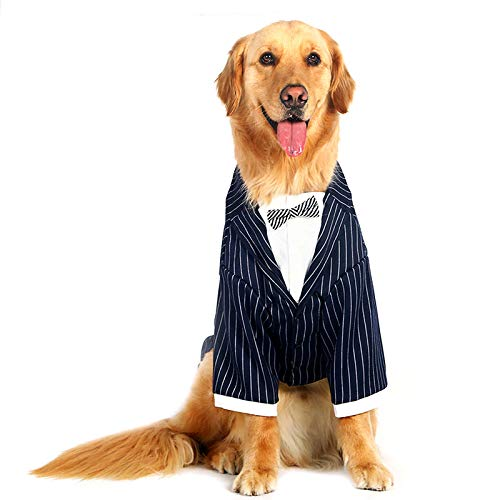 (Petvins Dog Formal Suit for Medium Large Dog, Prince Stripe Tuxedo Costume with Bowknot Tie, Pet Wedding Shirt Party Clothes)