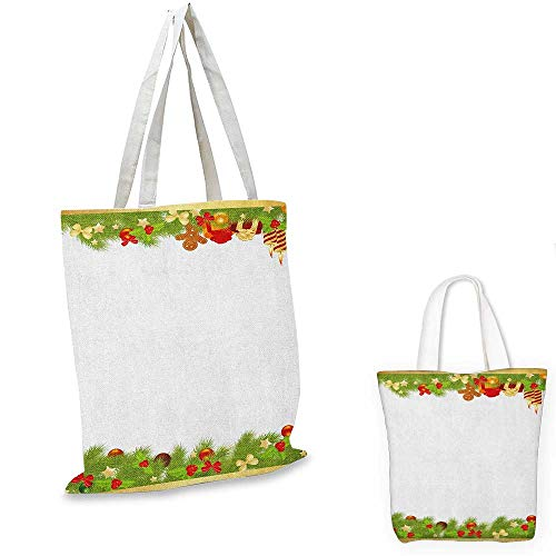 "Price comparison product image Christmas fashion shopping tote bag Evergreen Tree Leaves Spruce Gingerbread Man Candles Ribbons Joyous Composition canvas bag shopping Multicolor. 13""x13""-10"""