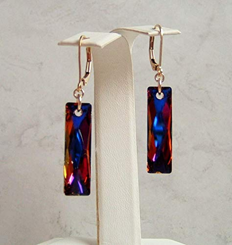 Multi Blue and Brown Volcano Crystal Rectangle Baguette Gold Filled Leverback Earrings Gift Idea