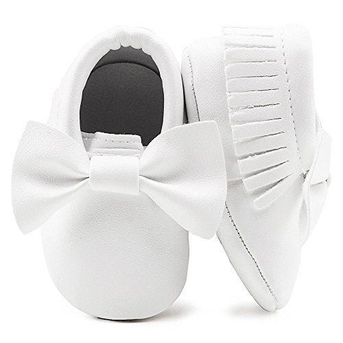 (OOSAKU Infant Toddler Baby Soft Sole PU Leather Bowknots Shoes (6-12 Months, White))