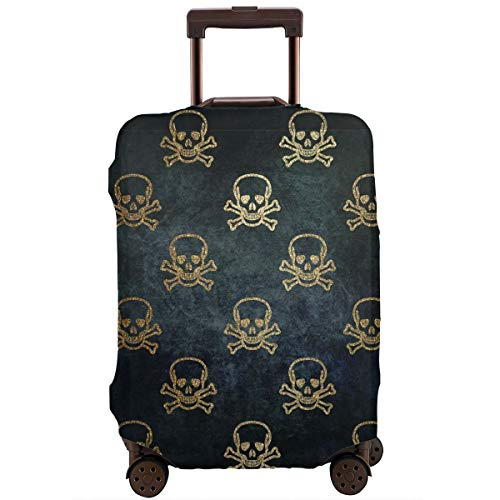 (Golden Glitter Skeleton Gothic Skull Halloween Perfect Detail Processing! Travel Luggage Cover Anti-scratch Baggage Suitcase Protector Cover Fits 18 20 24 26 28 32,Dust-proof Trolley Case)