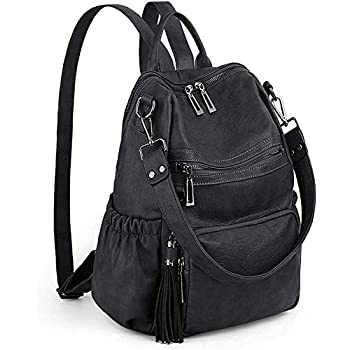 UTO Women Backpack Purse PU Washed Leather Convertible Ladies Rucksack Tassel Zipper Pocket Shoulder Bag A Black