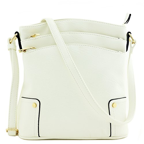 Triple Zip Pocket Large Crossbody Bag (White)