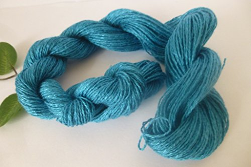(Vivid Turquoise Blue Acrylic cotton Blend light Fingering / Lace Weight Yarn)