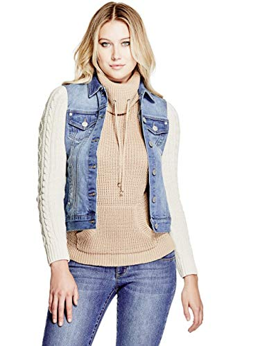 GUESS Factory Women's Alayna Sweater-Sleeve Denim Jacket (Jacket Jeans Guess)