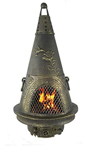 The Blue Rooster CAST ALUMINUM Garden Wood Burning Chiminea in Gold Accent.
