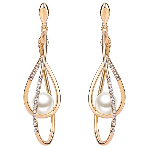 EVER FAITH Austrian Crystal Simulated Pearl Twist Chandelier Teardrop Dangle Earrings Clear Gold-Tone -