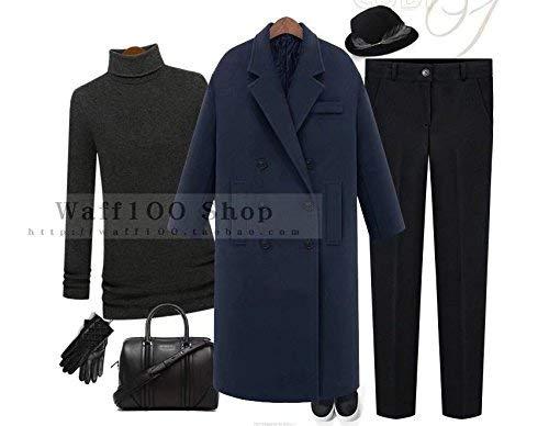 Invernali Tasche Vento Donna Di Giubotto Blau Monocromo Mode Outwear Lunga Parka Manica Confortevole Marca Breasted Double Bavero Giacca Anteriori Bolawoo wAqBfx4XA
