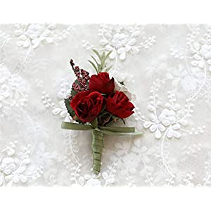 MOJUN Rose Boutonniere Buttonholes Corsage Artificial Groom Rose Wedding Flowers Brooch Prom Party Suit Decoration 104