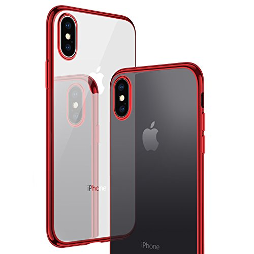 CASEKOO iPhone X Case, iPhone 10 Case, Slim Fit Ultra Thin Clear Case with Soft Silicone Protective Transparent Back Shockproof Bumper Cover Compatible with iPhone X(ONLY) [Tender Series]- Red
