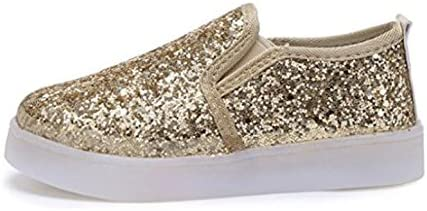 Silver US 9M USANDY Girls Light Up Sequins Shoes Slip-on Flashing LED Casual Loafers Flat Sneakers Toddler//Little Kid