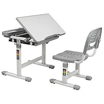Image of Mount-It! Kids Desk and Chair Set, Height Adjustable Ergonomic Children's School Workstation with Storage Drawer, Grey Home and Kitchen