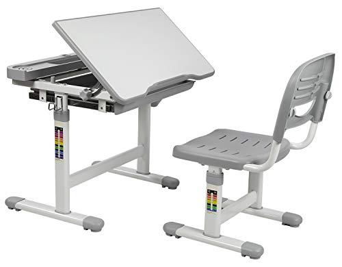 Mount-It! Kids Desk and Chair Set, Height Adjustable Ergonomic Children's School Workstation with Storage Drawer, Grey