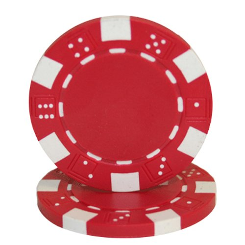 Brybelly 50 Red Clay Composite Striped Dice 11.5 Gram Poker Chips ()