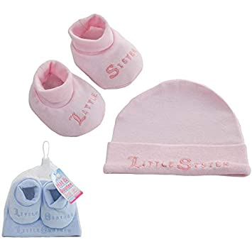 Super Soft Baby - Little Sister/Brother - Hat & Bootee Set (Pink) Staceys Bibs
