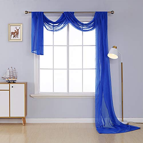 (Deconovo Decorative Window Voile Sheer Scarf Valance Curtain Panel for Window Treatment Royal Blue 54W x 216L Inch One Panel)