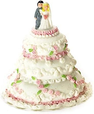 Miniature Handmade 2 Layer Pink Wedding Cake Rose Doll Food Sweet Deco Barbie