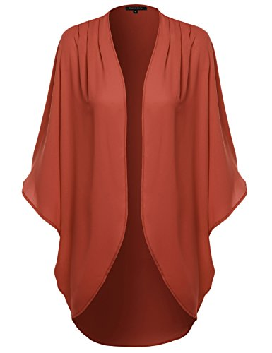 (Solid Short Sleeve Oversize Open-Front Kimono Style Cardigan Rust L)