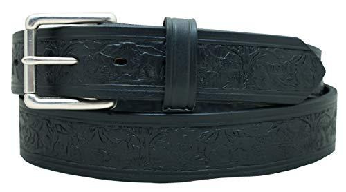 Men's Western Belt Wildlife Embossed Heavy Harness Leather Work Belt by YourTack 10YR Warranty (36, Black)
