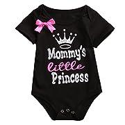 2 Styles Newborn Baby Girls Lovely Color Words Little Bow Short Romper Bodysuit (0-3 M, Black)